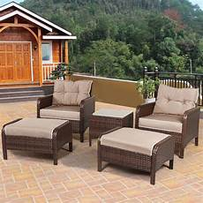 5 pcs rattan wicker furniture sofa ottoman w cushions patio garden yard new ebay