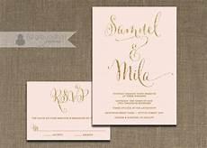 blush pink and gold wedding invitation rsvp 2 piece