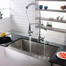 pictures of kitchen sinks and faucets kraus 36 quot x 21 quot farmhouse kitchen sink with faucet and soap dispenser reviews wayfair