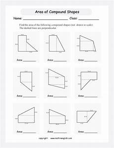find the area of compound shapes with rectangular and triangular shapes not drawn to scale