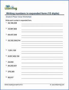 place value and rounding worksheets grade 5 5375 grade 6 math worksheet place value writing numbers in expanded form 12 digits k5 learning