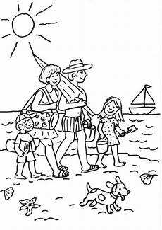 Malvorlagen Meer Und Strand Bilder Kostenlose Malvorlage Sommer Familie Am Strand Ausmalen