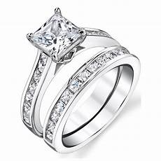 shop oliveti sterling silver princess cut engagement ring bridal with cubic zirconia clear