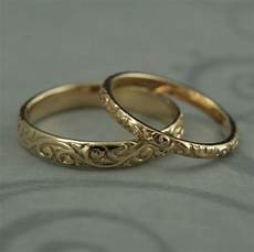 patterned wedding band vintage style wedding rings his and
