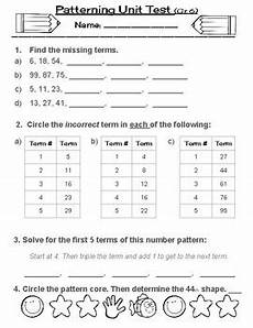 patterns grade 6 worksheets pdf 451 patterning test or patterns quiz split grades 3 4 5 6 tpt