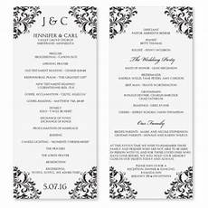 wedding program templates free single page wedding program template download instantly edit your wording black tea length