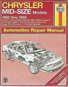 book repair manual 1993 chrysler town country interior lighting haynes automotive repair manual chrysler mid size models 1982 1995 9781563921964 ebay