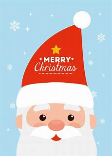 merry christmas card with face of santa claus vector free download