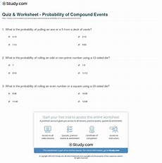 probability compound events worksheets 5766 quiz worksheet probability of compound events study db excel