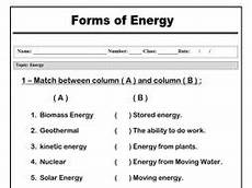 types of energy worksheet forms of energy quot matching worksheet quot by abubakrshalaby
