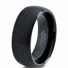 charming jewelers tungsten wedding band ring 8mm for men comfort fit black domed brushed