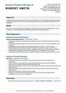 assistant property manager resume sles qwikresume