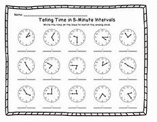 telling time in 5 minute intervals printable worksheets