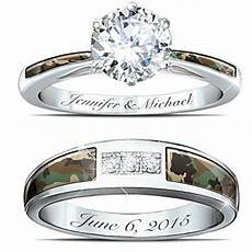camo his and hers personalized diamonesk wedding ring