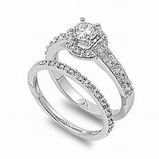 sterling silver engagement ring wedding band bridal set clear cz sizes 5 10 ebay