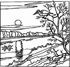 Malvorlagen Landschaften Gratis Tari Tiefstehende Sonne Ausmalbild Malvorlage Landschaften