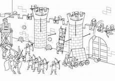 Ausmalbild Ritterburg Kostenlose Malvorlage Ritter Und Drachen Angriff Auf Die