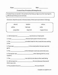 englishlinx com context clues worksheets