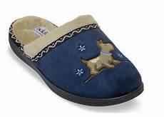 scotty navy plush scuff slipper hitchcock wide shoes