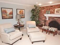traditional living room with brick fireplace hgtv