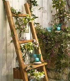 Outdoor Garden Decorations Made Of Wooden Ladders