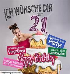 Gl 252 Ckw 252 Nsche Geburtstagskarte 21 Geburtstag Mit Torte
