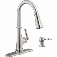 led kitchen faucets glacier bay touchless led single handle pull sprayer kitchen faucet with soap dispenser in