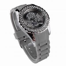 Damen Strass Silikon Armbanduhr Skull Totenkopf Trend