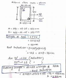 how to calculate the stirrup length in a beam of