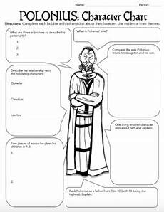 shakespeare s hamlet characterization activity worksheets bell ringers