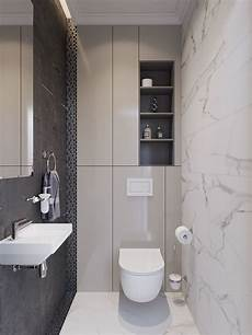 small bathroom with a ton of hidden back wall storage minimal and contemporary new project