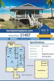 beach house plans on piers beach bungalow style home plan on a pier foundation two
