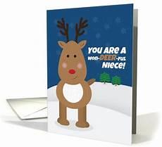 merry christmas niece cute reindeer card 1551172