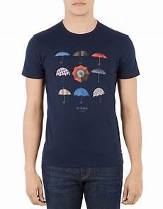 ben sherman heritage umbrella print cotton t shirt in blue