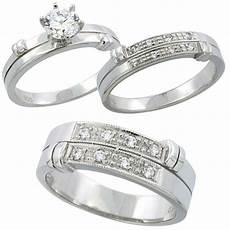buy sterling silver cubic zirconia trio engagement wedding ring set for him and her 7 mm l 5