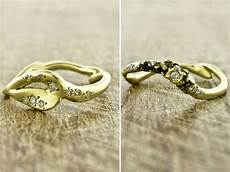 recycled yellow gold handcrafted into unique eco friendly wedding bands and engagement ring