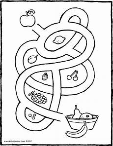 Ausmalbilder Mit Obst Labyrinth Mit Obst Kiddimalseite