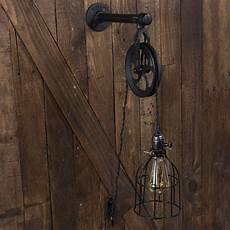 industrial pulley plug in wall sconce cage pendant with
