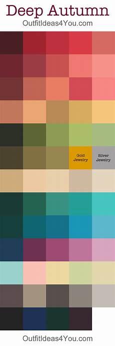 deep autumn seasonal color palette autumn color palette
