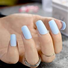pure light blue matte fake nails medium flat 24pcs frosted