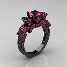 14k black gold 1 0 carat pink sapphire wedding ring