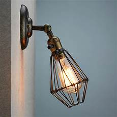 industrial retro vintage wustic warehouse sconce cafe resto wire cage wall light ebay