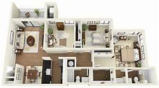 3bedroom 2bath 3d Floor Plan Www Coralclubapts