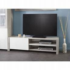 Banc Tv Design Gris Portofino Et Blanc Brillant Louno