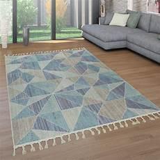 Kurzflor Teppich 3 D Muster Blau Grau Beige Teppichcenter24