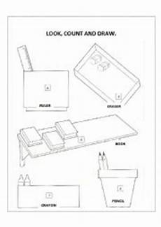 english worksheets school objects count and draw