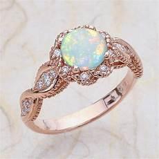 14k vintage rose gold engagement ring center is a opal