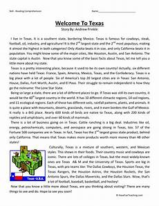 reading comprehension worksheet welcome to texas