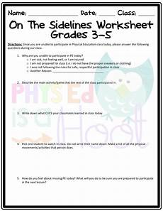 physical science elementary worksheets 13072 on the sidelines worksheet non participation worksheet for physical education physical