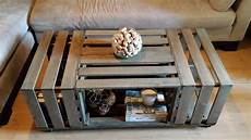 Rolling Rectangle Wood Crate Coffee Table Bricolage